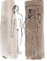 Borsos Miklós -  Festő és modellje 28 x 22 cm tus, diópác, papír 1983