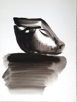 Borsos Miklós -  Szoborterv 60 x 50 cm tus, papír