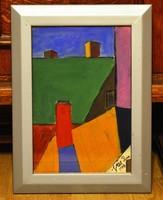 VÉN Emil (1902-1984) festmény, 29 x 20 cm, vegyes technika papír, jjl. Vén Paris 1970