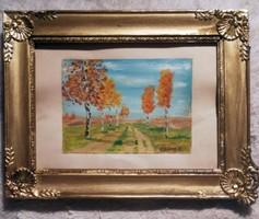 K. Spányi Béla : fák. Olaj karton. Mérete:20x26 cm. Keret külső mérete.