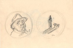 Borsos Miklós -  16 x 25 cm ceruzarajz, kétoldalas