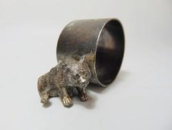 Medve figurális  ezüstözött ón szalvétagyűrű