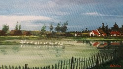 Régi festmény tájkép kép 35 x 25 cm