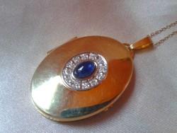 Gyémántokkal-Zafír 585/14kr.arany medál.Tanúsítvány van!