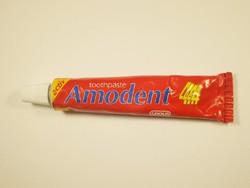 Retro AMODENT fogkrém fém tubus - CAOLA gyártó - 1980-as évekből - kis méretű