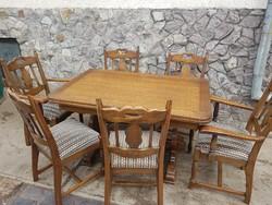 Ruszttikus tolgy bovitheto asztal+6db szek