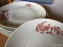 5 db porcelán tányér, 24 cm-es, antik