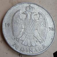Jugoszláv ezüst 20 Dínár 1938.