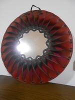 Falitükör bőr kézműves kör alakú bordó 39 cm