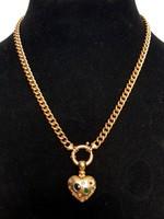 Gyönyörű egyedi Luxus Női arany nyaklánc+szív medál gyémánt,smaragd,zafír,rubin 14K