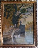 Zorkóczy  Gyula: Hattyú etetés. Akvarell, papír, üvegezett keretben, 30×22 cm