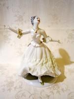 E_003 Wallendorf jellegű nagyon szép táncoló balerina, ritka zöld ruhában Arpo porcelán