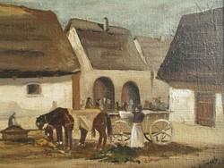 Radvánszky Zsolt: Piactér lovasszekérrel c. olajfestmény