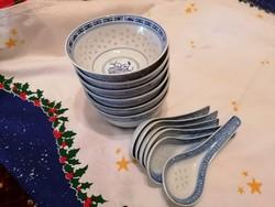 Jelzett kínai rizsszemes készlet, 6 tálka kanállal. Hibátlanok!