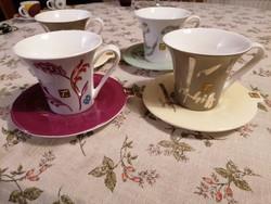 Négyszemélyes teás/hosszú kávés bögrekészlet. Modernista, különleges, hibátlan!