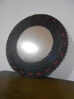 Falitükör bőr kézműves kör alakú fekete 34 cm