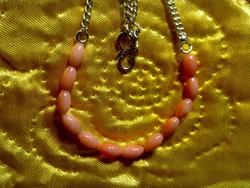 Csodaszép rózsaszín korall jelzett 925 ezüst női nyaklánc collier