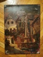 Fa lemezes olaj festmény