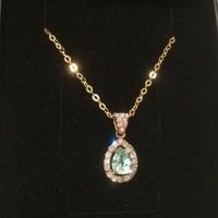 Paraiba turmalin gyémántokkal 585/14kr.  arany szett