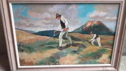 """""""Kaszáló emberek"""" szép olaj vászon festmény."""