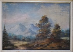 Szatmáry Olga kortárs festőművész erdei tájképe. 52x72cm Olaj/kasírozott vászon.