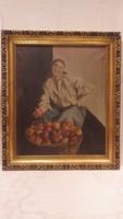 Fischer 931 leány kosár almával olaj - vászon festmény