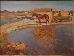 Zombory Lajos (1867-1933) : Szolnoki határban. Jelzett olajfestmény.
