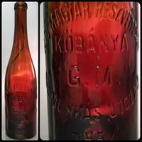 """""""Első Magyar Részvény Sör Kőbánya G. M. VII Munkás Utcza 3 0.45l"""" vörösesbarna sörösüveg (983)"""