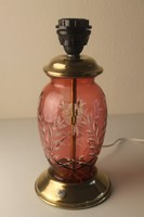 Art Deco bíborpácolt csiszolt üveg asztali lámpa talp