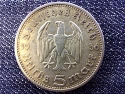Németország Paul Von Hindenburg (1847-1934) ezüst 5 birodalmi márka 1936 A / id 13856/