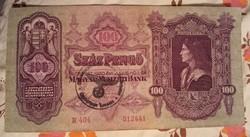 Bélyegzett 100 Pengő 1930.