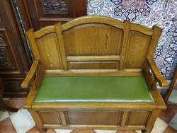 Karosláda tölgyfából, zöld bőr ülőfelülettel