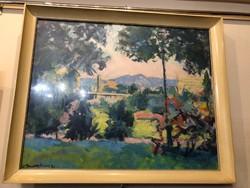 Novotny Emil Róbert(1898-1975):Budai részlet,1971-ből,nagyméretű olajfestmény