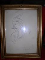 Munkácsy aláírással vázlatrajz, üvegezett keretben, belső mérte: 28 x 20 cm