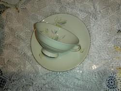 Gyönyörű vajszínű,leveles teás csésze,szett.