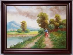 Várhegyi Rozália Úton hazafelé festmény (980)