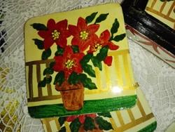 Indiai kézzel festett pohár alátét dobozában.