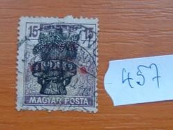 15 FILLÉR 1920 Búzakalász felülnyomat a Magyar Tanácsköztársaság (Magyar Posta Arató 457#