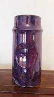 Régi Hollóházi porcelán váza lila retro design 20 cm