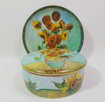 """V. van Gogh : """"  Napraforgók """" porcelán fedeles ékszertartó  és dísztányér Goebel Vincent sorozat"""