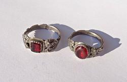 Antik mester jelzett piros köves gyűrűpár