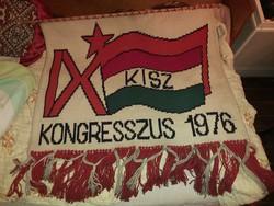 9. KISZ kongresszus 1976 kézi faliszöttes.