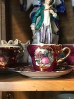 Jelenetes porcelán kávés szett