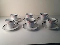 6 személyes szecessziós mintás teáscsésze + csészealj