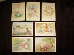 7 bűbájos képeslap RAA szignált /Charlotte von Baron rajzai alapján/