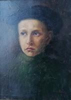 Szekeres Béla (1890-?) : Öcskös. Jelzett olajfestmény.