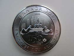 2017 Kanada 150év emlékérme kenu ezüst érme 0.9999 1 uncia 31gr