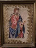 Hímzett szentkép , 30 x 23 cm -es egyszerű keretben . Szent Pétert ábrázolja .