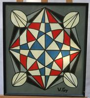 Absztrakt festmény V.Gy jelzéssel