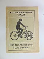 Kerékpárvezetői igazolvány - Közlekedésbiztonsági Tanács